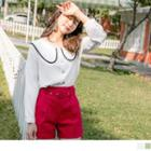 Lace Trim Buttoned Long-sleeve Top
