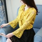 Long-sleeve V-neck Ruffled Lace Top