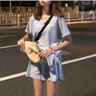 Set: V-neck Letter Embroidered Top + Elasticized Waist Shorts