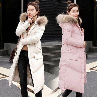 Furry Hood Long Padded Coat
