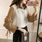 Striped Long-sleeve Chiffon Top