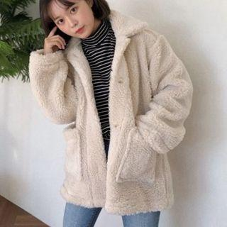 Single-breasted Furry Coat