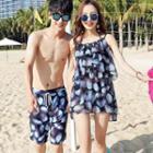 Couple Matching Swim Shorts / Set: Floral Bikini + Cover