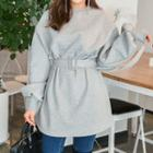 Puff-sleeve Pullover With Belt