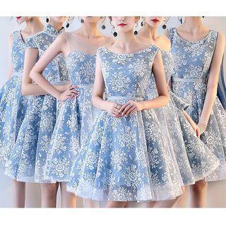 Lace Panel A-line Bridesmaid Dress