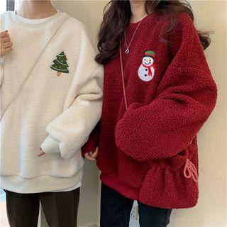 Embroidered Fleece Loose-fit Pullover + Crossbody Bag