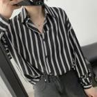 Striped Long-sleeve Shirt Black - One Size