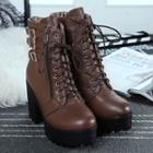 Chunky-heel Buckled Lace-up Short Boots