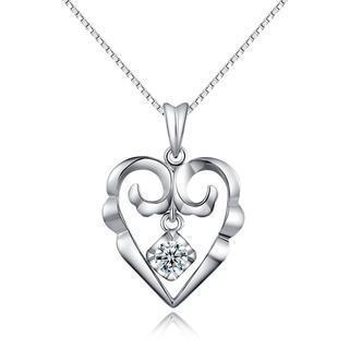 18k White Gold Heart Dangle Diamond Solitaire Pendant Necklace (0.11 Ct) (free 925 Silver Box Chain, 16)