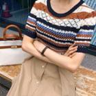 Stripe Pointelle-knit Top