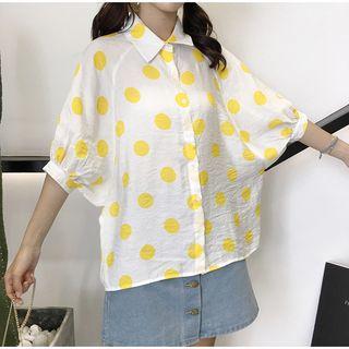 Elbow-sleeve Polka Dot Shirt