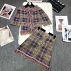 Plaid Fringed Trim Jacket + Plaid A-line Skirt