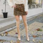 Fray-hem Leopard Miniskirt
