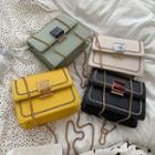 Faux Leather Embroidered Flap Crossbody Bag