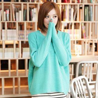 Waffle-knit Sweater
