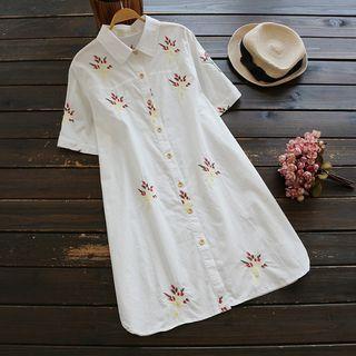 Short-sleeve Embroidery Shirtdress
