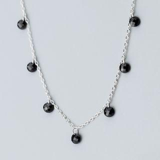 925 Sterling Silver Faux Crystal Necklace S925 Silver - Necklace - One Size