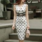 Dotted Sleeveless Sheath Dress