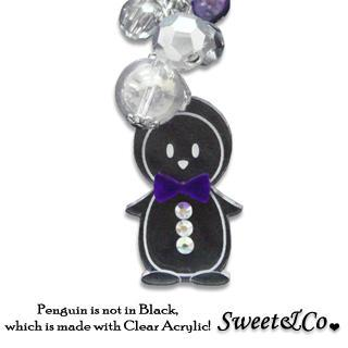 Mini Violet Bowtie Penguin Necklace