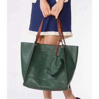 Faux Leather Tote With Pouch Green - One Size
