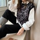 Set: Shirt / Leopard Print Knit Vest