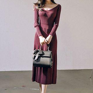 V-neck Rib-knit Midi Sweater Dress Wine Red - One Size