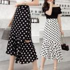 Dotted Cutout A-line Midi Skirt