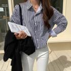 Loose-fit Stripe Shirt Black - One Size