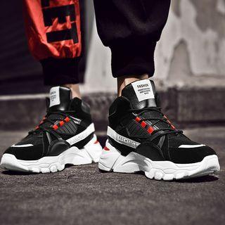 Contrast-color Platform High-top Sneakers