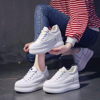 Platform Lace Up Hidden-wedge Sneakers