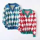 Long-sleeve Argyle Knit Top