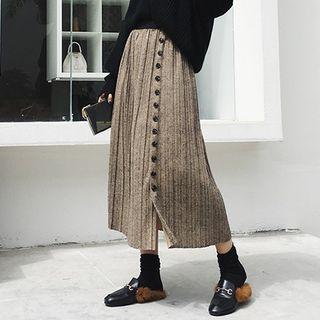 Pleated Midi A-line Knit Skirt