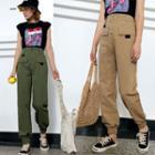 Straight Cut Elastic-cuff Pants