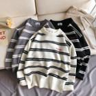 Loose-fit Embroidered Striped Knit Sweater