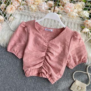 V-neck Ruched Puff-sleeve Cropped Chiffon Blouse