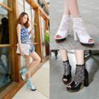 Peep-toe Block Heel Lace Ankle Boots