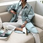 Dual-pocket Slit-side Denim Long Shirt