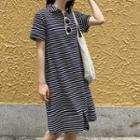Short-sleeve Striped Midi Polo Dress