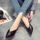 Pointed Chunky Heel Slide Sandals