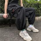 Embroidered Harem Jogger Pants Black - One Size