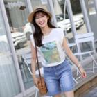Cap-sleeve Printed T-shirt Ivory - One Size