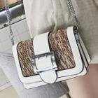 Buckled Straw Panel Crossbody Bag