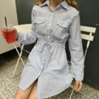Striped Drawstring Waist Shirtdress