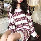 Patterned Long Sweater White - One Size