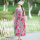 Ethnic Print Round-neck Dress