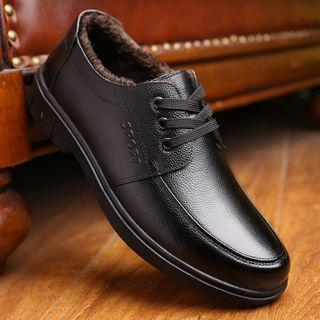 Fleece-lined Genuine Leather Oxfords