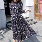 Printed 3/4-sleeve Midi Chiffon Dress