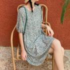 Floral Puff-sleeve Chiffon Dress