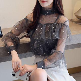 Set: Star Sequin Ruffle Blouse + Camisole