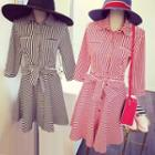 Striped Shirtdress With Sash